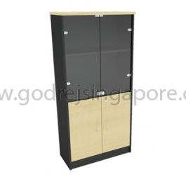 Full Height Wooden Cabinet Half Glass 1800mm
