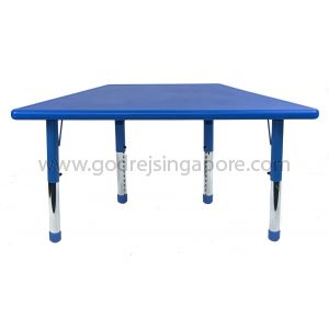 Trapezium Height Adj Table Plastic Top 003-2 - Blue
