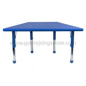 Trapezium Height Adj Table Plastic Top 003-2 - Blue