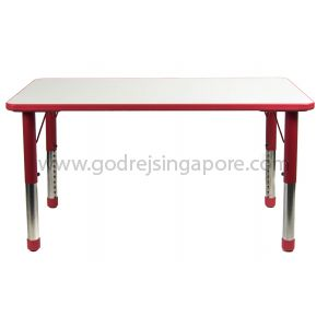 Rectangular Height Adj Table Wooden Top 061 - Red