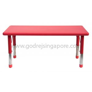 Rectangular Height Adj Table Plastic Top 001-2 - Red