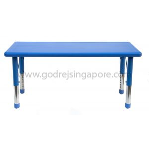 Rectangular Height Adj Table Plastic Top 001-2 - Blue