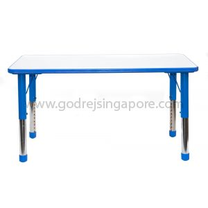 Rectangular Height Adj Table Wooden Top 061 - Blue