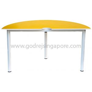 Semi-Circular Table Yellow 1400Dia x 750mmH