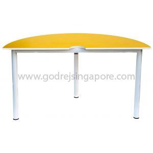 Semi-Circular Table Yellow 1400Dia x 750mmH