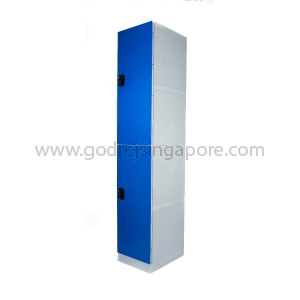 2 Door ABS Plastic Locker 4 Digit Keyless Lock (SINGLE COLUMN)- DEEP BLUE DOOR