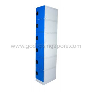 6 Door ABS Plastic Locker 4 Digit keyless Lock (SINGLE COLUMN)- DEEP BLUE DOOR
