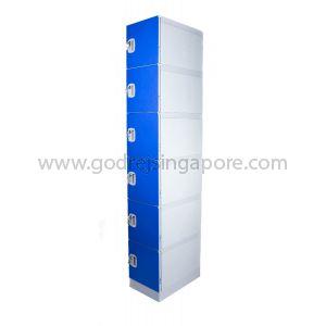 6 Door ABS Plastic Locker Key/latch Lock (SINGLE COLUMN)- DEEP BLUE DOOR