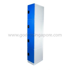 4 Door ABS Plastic Locker 4 Digit Keyless Lock (SINGLE COLUMN)- DEEP BLUE DOOR