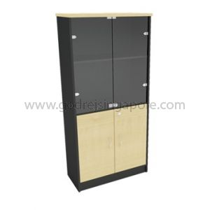 Full Height Swing Door Cabinet Half Glass 2000mm