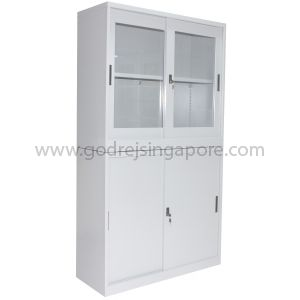 2 TIER STEEL & GLASS SLIDING DOOR CABINET WITH STAND