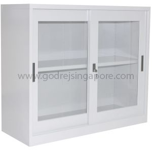 HALF HEIGHT GLASS SLIDING DOOR CABINET