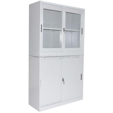 2 Tier Steel Glass Sliding Door Cabinet With Stand Godrej